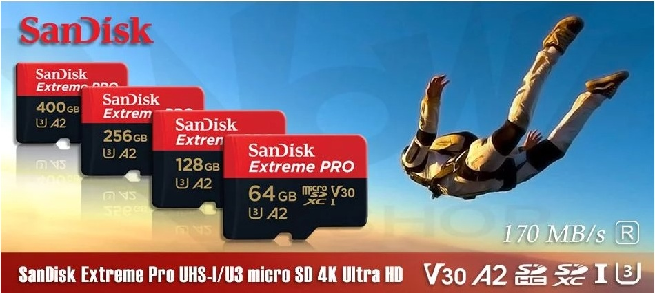 Thẻ nhớ Sandisk micro SDXC A2 170MB/90MB/s 64GB Extreme Pro